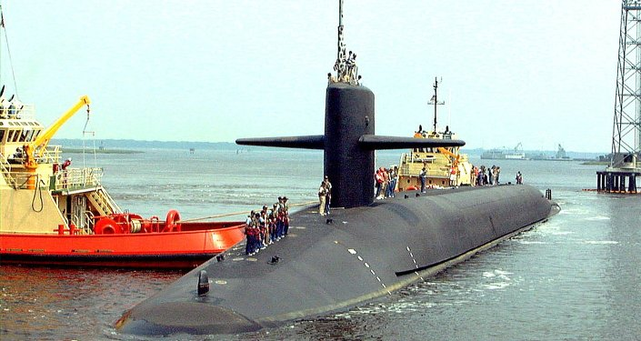 Submarino nuclear norte-americano USS Louisiana na base naval de submarinos Kings Bay (foto de arquivo)