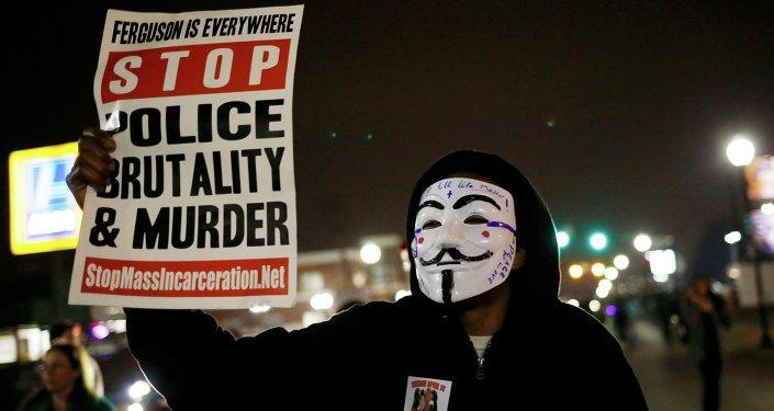 Protesto contra a morte de jovem negro em Ferguson, em março de 2015.