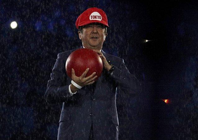 O premiê japonês Shinzo Abe se fantasiou de Super Mario