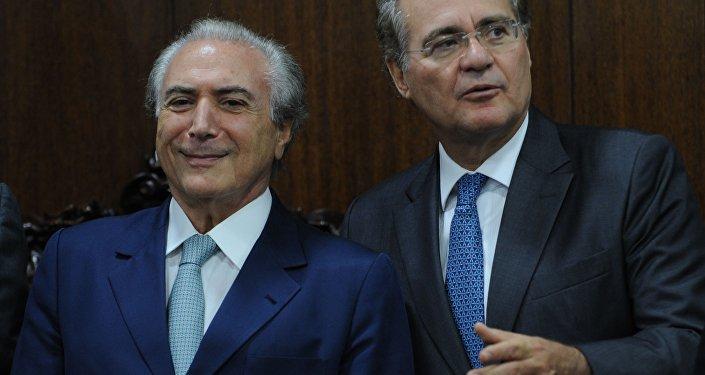 Presidente interino Michel Temer e o presidente do Senado Renan Calheiros
