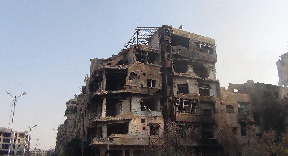 A cidade de Darayya destruída na Síria