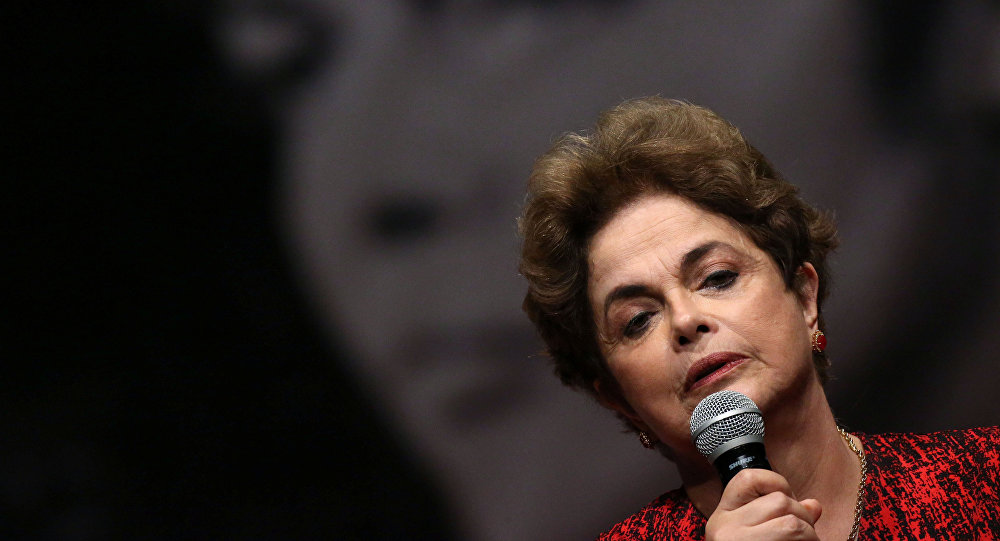 Dilma Roussef durante um ato em Brasília em 24 e agosto de 2016