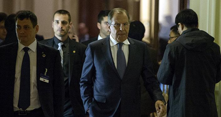 Chanceler russo Sergei Lavrov durante uma pausa nas negociações do sexteto sobre o problema nuclear iraniano em 31 de março de 2015