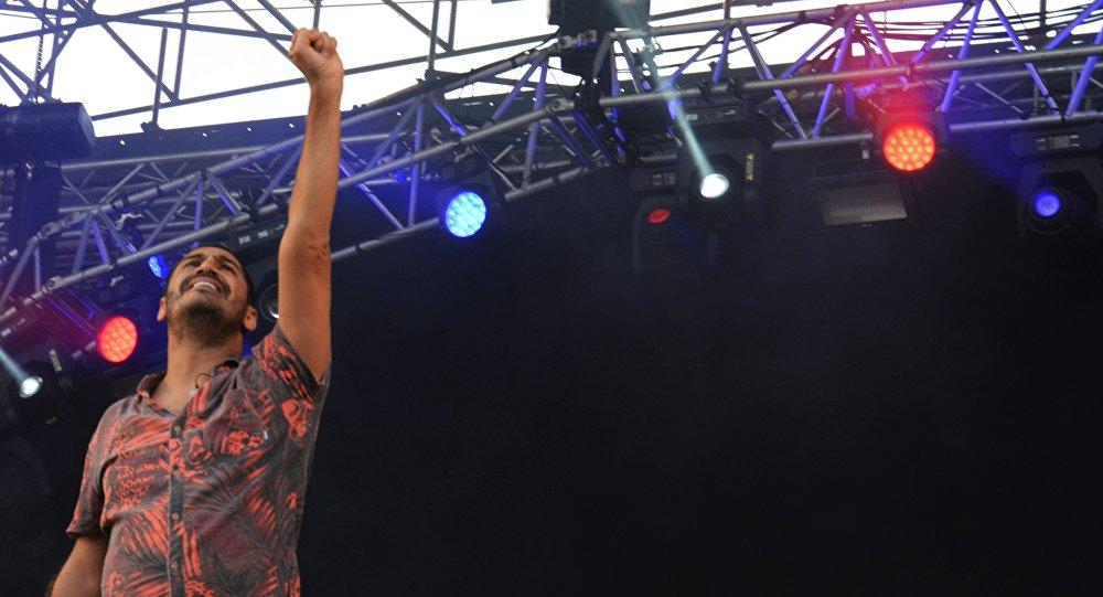 Cantor brasileiro Criolo na Festa do Avante, no sul de Lisboa,3 de setembro de 2016