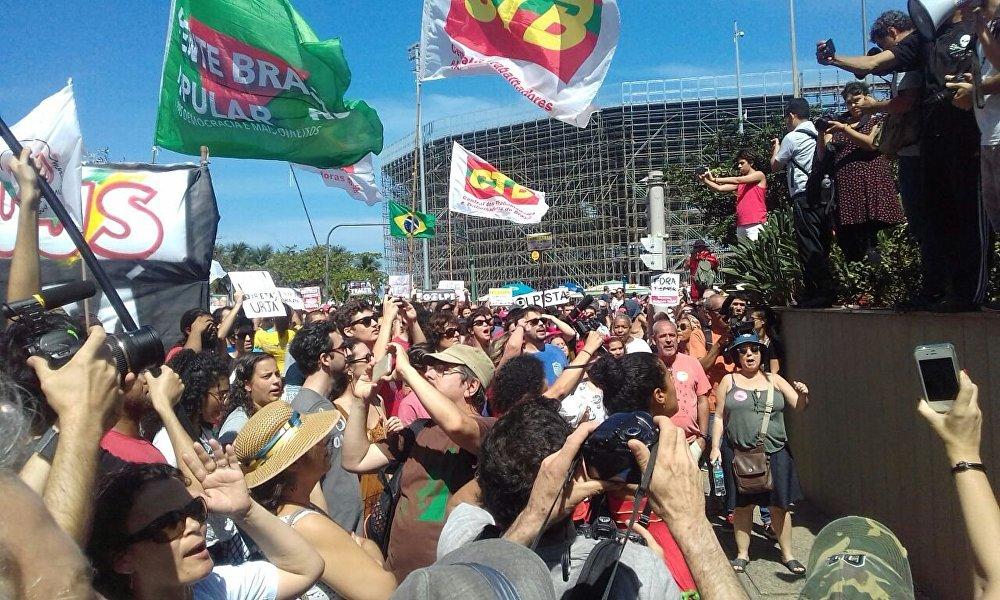 Ato na zona sul do Rio de Janeiro contra o presidente Michel Temer