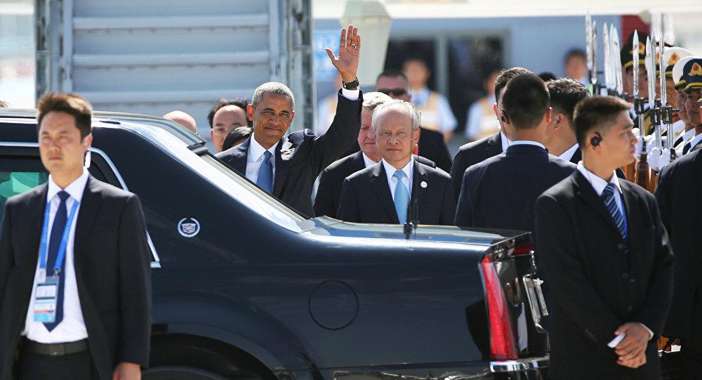 O presidente dos EUA Barack Obama chegou ao aeroporto de Hangzhou