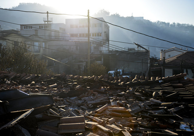 Casa destruída pelo incêndio em Funchal, Madeira, Portugal, agosto de 2016