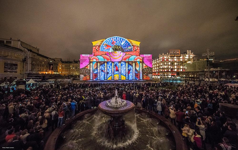 O espetáculo do Festival Círculo de Luz no edifício do Teatro Bolchoi em 2015