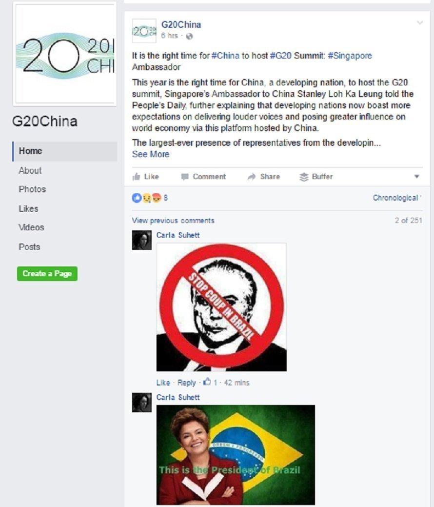 Brasileiros contra Temer ocupam página do G20 na China