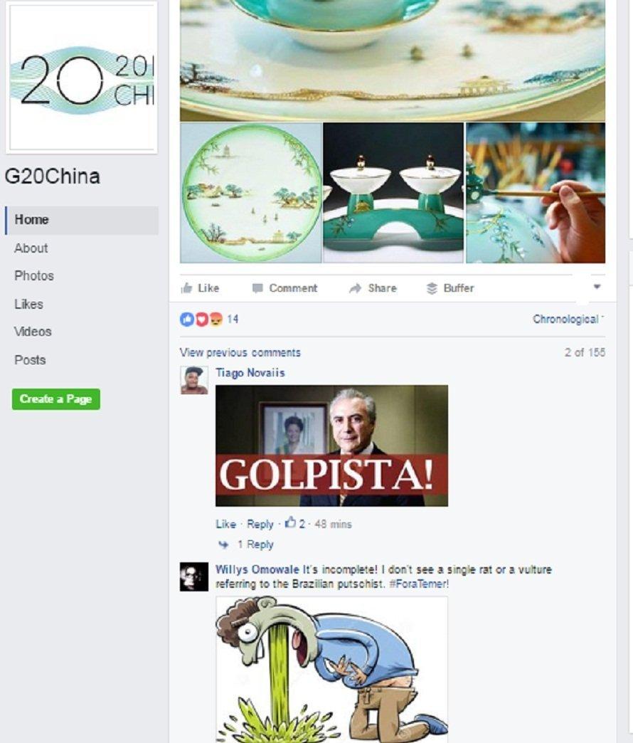 Brasileiros denunciam golpe na página oficial do G20 na China