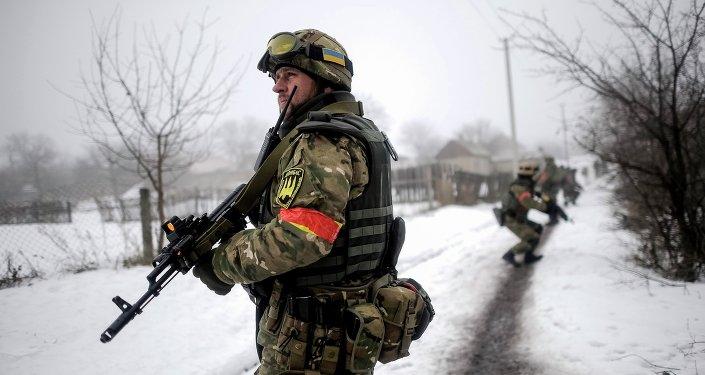 Soldado ucraniano na região de Lugansk