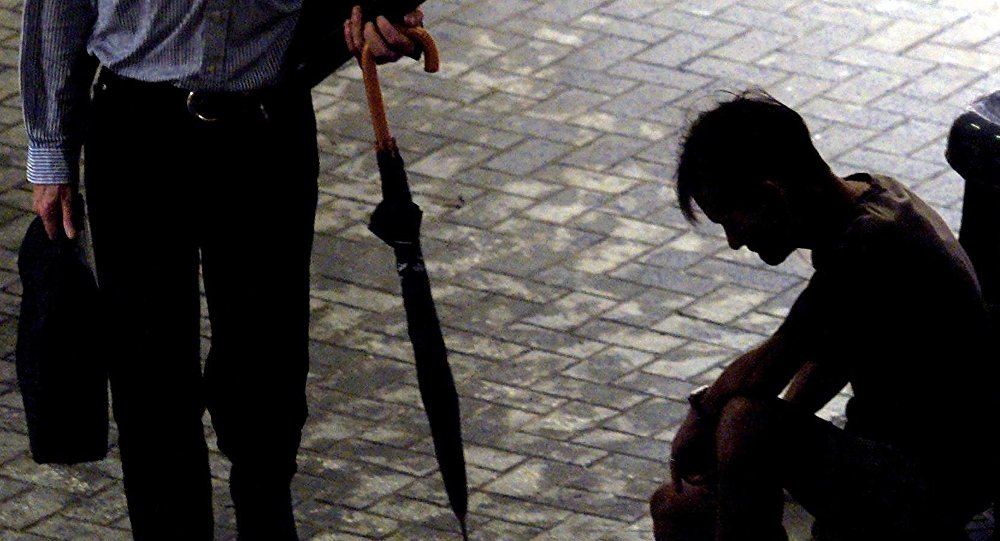 Cena de uma rua no distrito de Wan Chai em Hong Kong, 24 de agosto de 2000