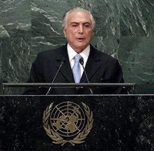 O presidente do Brasil, Michel Temer, discursa na Assembleia Geral da ONU