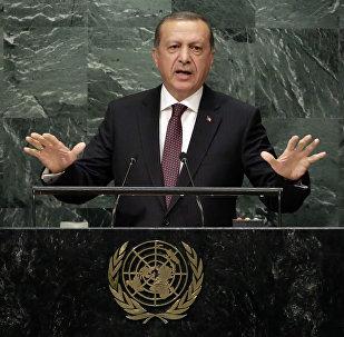 Presidente da Turquia Tayyip Erdogan em discurso na 71ª Assembleia Geral da Organização das Nações Unidas