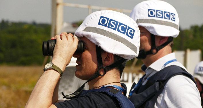 Inspetores da OSCE em Donetsk, no leste da Ucrânia (arquivo)