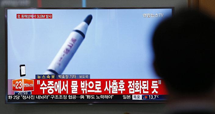 Imagens mostrando lançamento de míssil feito pela Coreia do Norte