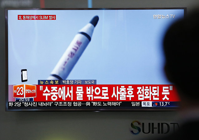 Imagens mostrando lançamento de míssil feito pela Coreia do Norte (foto de arquivo)