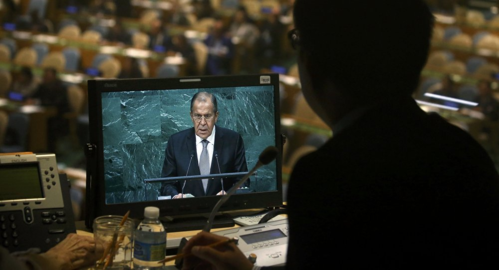 Ministro das Relações Exteriores da Rússia, Sergei Lavrov, na Assembleia Geral da ONU