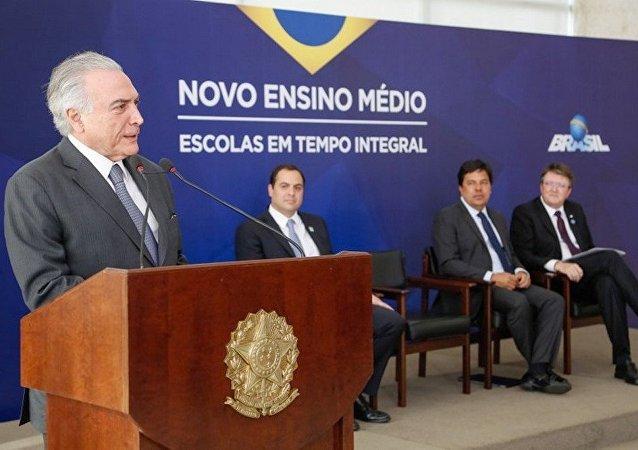 Presidente Michel Temer durante cerimônia de lançamento do novo ensino médio