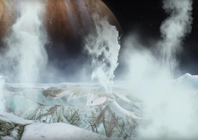 As fotos gêiseres com água na lua Europa de Júpiter