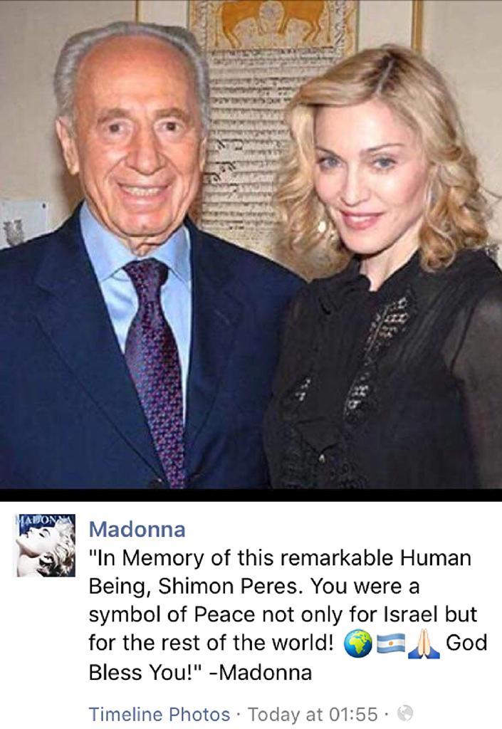 Madonna confundiu as bandeiras de Israel e da Argentina quando apresentava condolências sobre a morte do ex-presidente israelense Shimon Peres