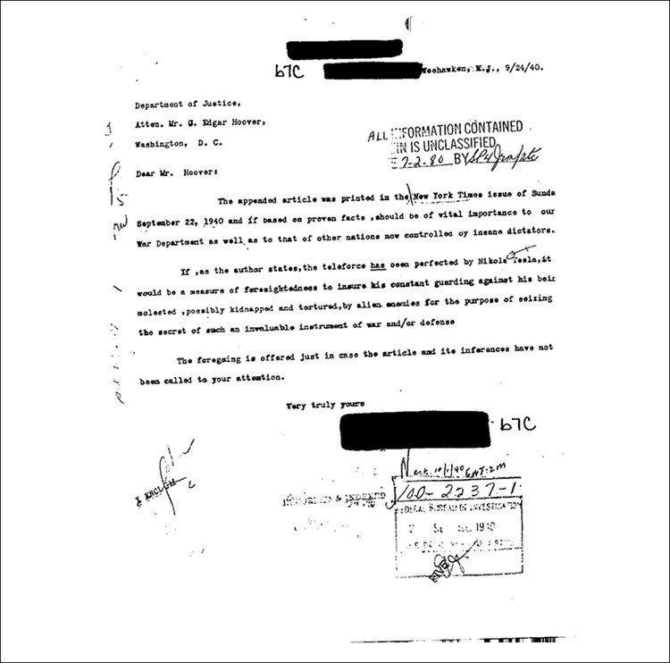 Carta a Edgar Hoover, primeiro diretor do FBI, sobre as potencialidades do raio da morte de Nikola Tesla