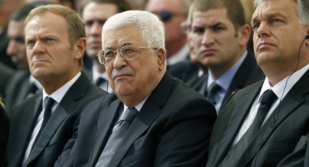Presidente da Autoridade Nacional palestina Mahmud Abbas (centro) no funeral do ex-presidente israelense Shimon Peres