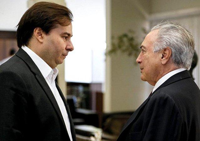 Presidente Michel Temer passa interinamente a Presidência da República ao deputado Rodrigo Maia