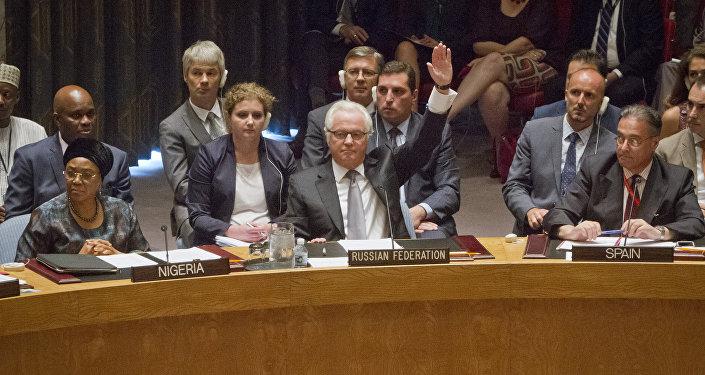 Embaixador da Rússia na ONU, Vitaly Churkin, dá voto de veto no Conselho de Segurança