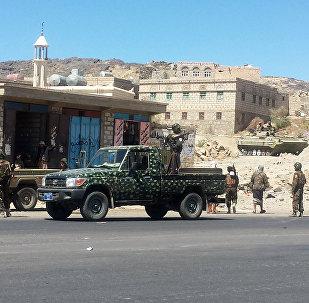 Militantes houthis na província de Bayda, Iêmen