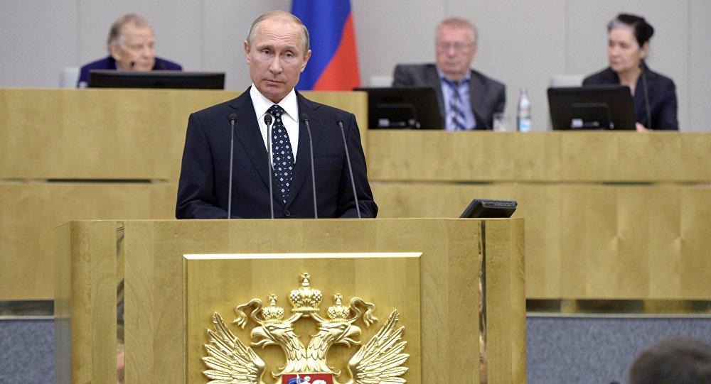 Presidente russo Vladimir Putin discursa perante a Duma de Estado da Rússia, Moscou, Rússia, 5 de outubro de 2016