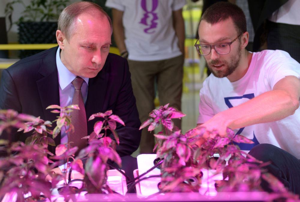 Chefe de Estado russo Vladimir Putin durante uma visita ao centro de educação para crianças talentosas Sirius em Sochi, Rússia