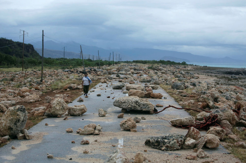 A primeira província de Cuba (Guantánamo) a ser afetada pelo poderoso furacão Matthew, em 4 de outubro à noite