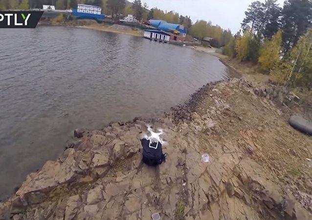 Russo pesca com quadricóptero