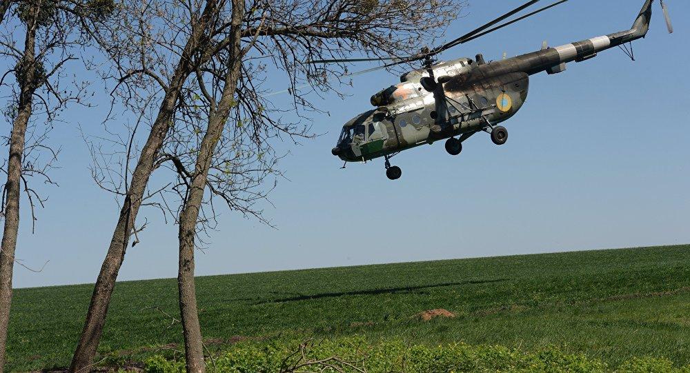 Helicóptero das Forças Armadas da Ucrânia na vila de Dolina na região de Donetsk, 2014 (foto de arquivo)