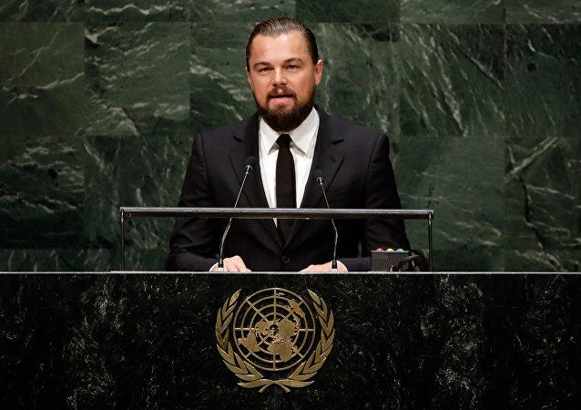 Leonardo DiCaprio, ator e Mensageiro da Paz das Nações Unidas , faz discurso na Cúpula sobre as Mudanças Climáticas, na sede da ONU, terça-feira setembro 23, 2014.