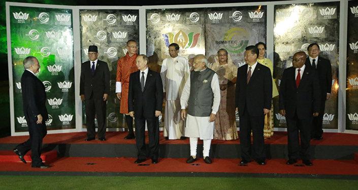 O presidente brasileiro Michel Temer em sua primeira cúpula do BRICS, em Goa, na Índia, em 16 de outubro de 2016