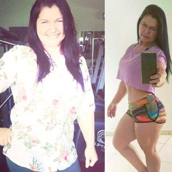 Em seu Instagram Jacira mostra o antes e depois de começar os treinos