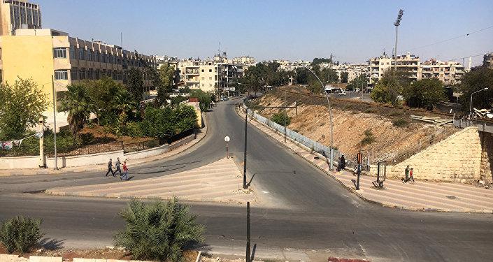 A área do corredor humanitário em Aleppo, Síria
