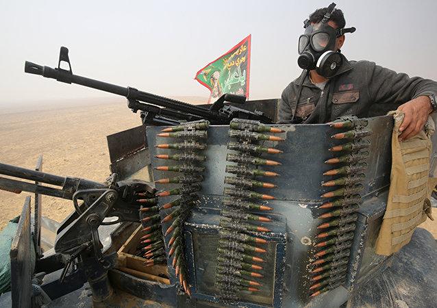Militar do exército iraquiano, no sul de Mossul em 24 de outubro de 2016