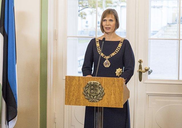 A presidente estoniana Kersti Kaljulaid durante a cerimônia de inauguração