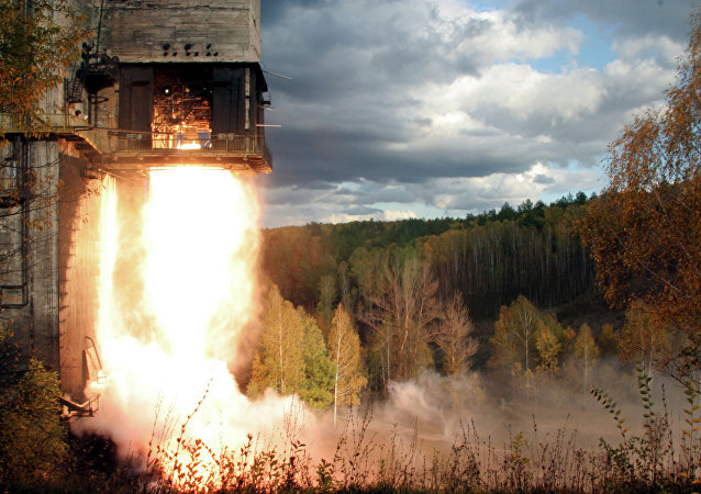 An NK-33 Rocket Engine Undergoes a Test Fire Outside of Samara, Russia