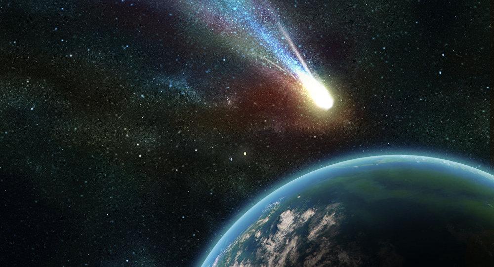 Asteroide se aproximando da Terra (ilustração)