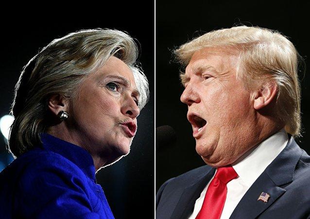 Candidata presidencial democrata Hillary Clinton em Tempe, Arizona, em 2 de novembro de 2016 e o candidato presidencial republicano dos EUA Donald Trump em Warren, Michigan em 31 de outubro de 2016