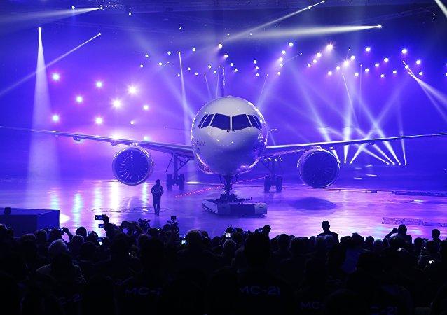 Apresentação do novo avião de passageiros MS-21 na fábrica de aviação na cidade russa de Irkutsk