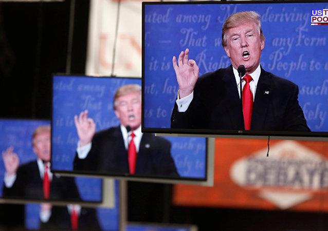 Donald Trump em telas de televisão no campus da Universidade de Nevada
