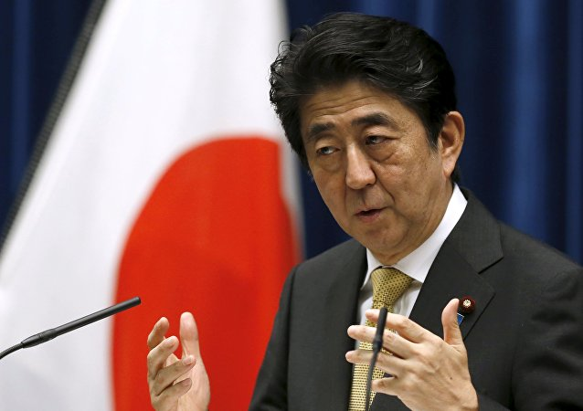 Primeiro-ministro do Japão Shinzo Abe durante discurso em Tóquio