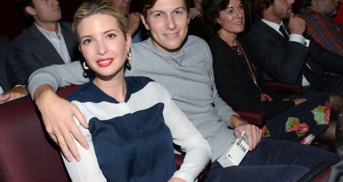 Ivanka Trump e o seu marido Jared Kushner durante lançamento do filme Corações de Ferro, em Nova York, EUA, outubro de 2014