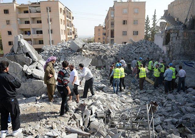 Explosão em Al-Bab (foto de arquivo)