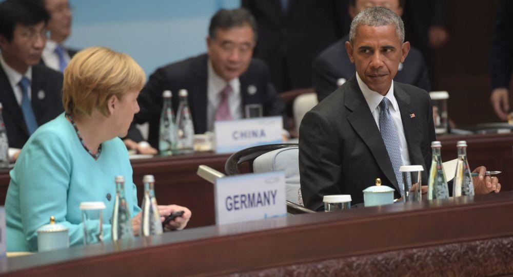 Barack Obama e Angela Merkel durante G20